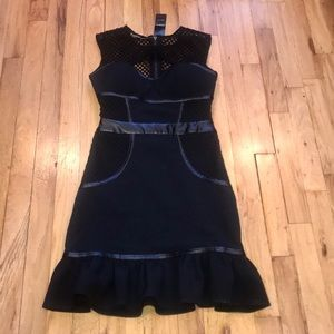 Bebe NWT mesh detail jet black ruffle dress sz 0